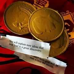 Lucky coins & fortunes (christaki) Tags: coins fortunecookie chocolate chinese newyears fortunes