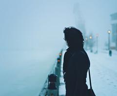Desolation (Peterix) Tags: winter mist selfportrait snow alone sweden bokeh harbour lule