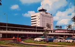 Honolulu International Airport, Hawaii (SwellMap) Tags: architecture plane vintage advertising design pc airport 60s fifties aviation postcard jet suburbia style kitsch retro nostalgia chrome americana 50s roadside googie populuxe sixties babyboomer consumer coldwar midcentury spaceage jetset jetage atomicage
