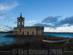 Normanton Church 0685 (stagedoor) Tags: uk england copyright lake building water architecture town dusk olympus reservoir rutland rutlandwater normanton em1 eastmidlands anglianwater