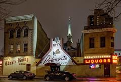 Nye's (Greg Riekens) Tags: city winter usa cold minnesota bar night dark downtown minneapolis nightclub neonlights nyes flickrelite nikond7000