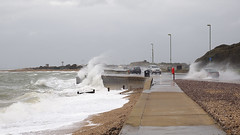 Stormy Stokes Bay Sea Front 2 of 3 (fstop186) Tags: road sea wild people seascape storm wall landscape high dangerous closed waves candid silhouettes stormy olympus spray blocked henry solent imogen winds walkers breaking crashing flooded gosport splashing em1 olympusmzuikopro1240mmf28