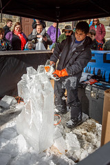 Making the Horse Head (Karol A Olson) Tags: mainstreet chainsaw maryland icesculpture sykesville carrollcounty feb16 icefest2016