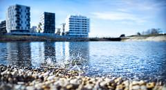 Fresh up! (Thomas TRENZ) Tags: vienna wien city blue lake austria see sterreich drops nikon aqua stadt blau tamron teich wassertropfen aspern d600 tropen steinewerfen cityexplore stadterkundung seestadt thomastrenz