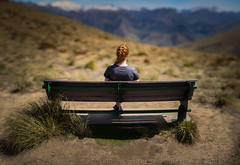 Admiring the view (Kiwi Tom) Tags: portrait panorama mountain girl bench landscape ben 85mm method lomand brenizer