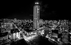 City night in B&W  (T.ye) Tags: lighting city urban blackandwhite tower vancouver 3d downtown angle perspective scene nightview residence