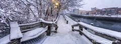 Boardman River ... boardwalk (Ken Scott) Tags: winter panorama usa snow bench twilight downtown michigan boardwalk february traversecity 2016 boardmanriver 45thparallel grandtraversecounty fhdr