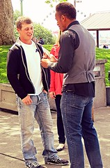 (ManontheStreet2day) Tags: boy couple crotch twink jeans bluejeans bulge