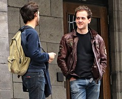 Love that brown jacket! (ManontheStreet2day) Tags: boy crotch twink jeans backpack bluejeans