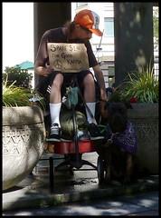 good karma (D G H) Tags: seattle park street dog man sign wagon downtown karma broke panhandler redwagon daveheston