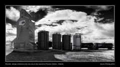 Elevator, storage containers and rail cars in the hamlet of Pincher Station, Alberta (kgogrady) Tags: winter panorama canada landscape nikon pano elevator alberta infrared hamlet railcars d80 pincherstation