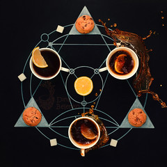 Teatime alchemy (Dina Belenko) Tags: food black cooking coffee breakfast circle recipe chalk lemon cookie tea drink sweet geometry secret magic creative tasty science fromabove story learning series splash conceptual process chalkboard blackboard highspeed khabarovsk alchemy ingredient frozenmotion
