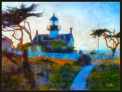 Late Light (lloydboy52) Tags: california light lighthouse pacific montereybay digitalpainting impressionist pacificcoast afternoonlight pointpinos ptpinos latelight monerey