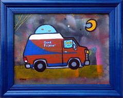 Merman in a Kustom Van (Andy Finkle Art) Tags: moon fish monster illustration cartoon spraypaint van kustom cryptid finkle vannin