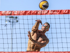 Kaboom (Beach Volleyball.) Tags: summer man net beach sports june canon ball eos athletic beachvolleyball 7d spike volleyball athlete ef135mmf2lusm