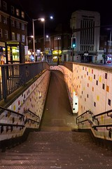 Stairs & Slop to Watford Way underpass, Hendon Central (LFaurePhotos) Tags: life street london architecture night stairs buildings perspective tiles afterdark a41 queensroad northwestlondon virginactive londonboroughofbarnet hendoncentral watfordway