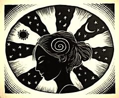 I Am the Cosmos (neilbrigham) Tags: moon girl illustration stars blackwhite astrology woodcut scratchboard