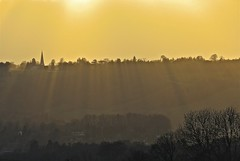 Shining On The Righteous (Deepgreen2009) Tags: trees light church gold worship glow shadows god horizon religion belief surrey spire rays dorking effect shining righteous ranmore