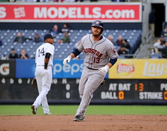 Tyler White rounds the bases after his 1st MLB homer (apardavila) Tags: sports baseball yankeestadium mlb houstonastros majorleaguebaseball tylerwhite