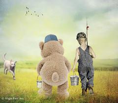 Spending time with Friends... (rubyblossom.) Tags: bear friends boy dog water birds bucket jump fishing stream child bears meadow run rod pail 2016 jat rubyblossom challenge131 dastockusersgallery rubystreasurechallenge62