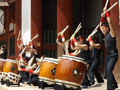 Drummers in front of Todaiji, Nara, Japan, 9 April 2016 (AndrewDixon2812) Tags: park japan temple japanese drum buddha daibutsu drumming nara kansai drummers todaiji    daibutsuden