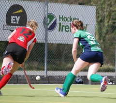 Clare pictured about to get in a vital tackle to dispossess the incoming Harlequins forward entering the circle along the end line (Greenfields Hockey Club) Tags: hockey cork connacht quins harlequins greenfields dangan ihl irishhockeyleague greenfieldshockeyclub irishhockey connachthockey hockeygalway corkharlequins