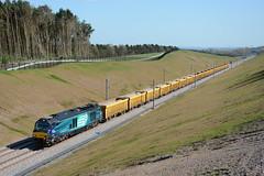 68001 Searchlight Lane 19/04/2016 (Brad Joyce 37) Tags: sunshine train cat locomotive freight flyover drs 68001 class68 nortonbridge 6u77 searchlightlane