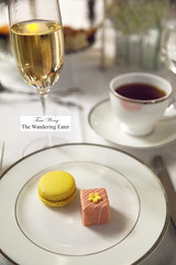 Lemon macaron and pink marzipan petit four cake (thewanderingeater) Tags: nyc manhattan champagne afternoontea uppereastside thelowell thepembrokeroom