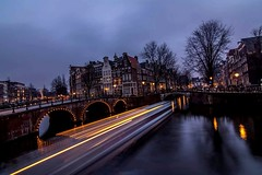 Canal Boat Light Trails (^hanky1984^) Tags: city longexposure bridge favorite color water amsterdam night nikon cityscape tokina nighttime lighttrails colourful barge canalboat lighttrail reflecctions d5200 tokina1116mm tokina1116 nikond5200
