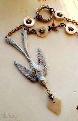 Vintage beauty (lilruby) Tags: bird vintage necklace heart romantic brass rhinestones repurposed motherofpearl lilrubyhandcraftedjewelry