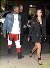 FFN_IMAGE_50885635|FFN_SET_60054046 (ApolloLi) Tags: usa newyork fulllength brunette redpants denimjacket whitetshirt blackjacket kanyewest blackheels kimkardashian