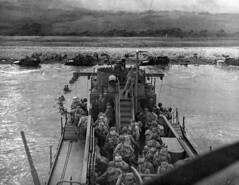 US Army infantry disembark fro bow of LCI (L) 412 at Omaha Beach. (HarryKidd) Tags: ww2 landingcraft dday omahabeach