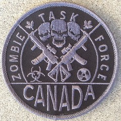 """Zombie Task Force Canada - 3.5"""" round patch with velcro (Phil Drinkwater) Tags: world chris rescue 6 toronto ontario canada trooper calgary st vancouver umbrella kyle walking dead army fire dawn living riot team war gun comic fighter force quebec cosplay zombie walk montreal air ottawa navy apocalypse royal police nypd canadian frog corporation seal mounted land fireman seals marines z rcmp sheriff raccoon paintball paramedic ems invasion johns con defence swat forces minister resistance nyfd provincial airsoft opp task armed lapd tactical eradication surete corporatioonon"""