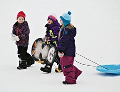 Fun on Hanbury Hill (Across & Down) Tags: winter snow children fun hill sleds toboggans
