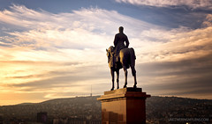 Master of my Domain (.::Prad Patel::.) Tags: sunset sculpture horse man statue canon fisherman hungary view outdoor military iii hill budapest towers hero 5d bastion plinth buda mk artur fishermans gorgey artrgrgey