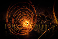 Viewfinder-lightpainting-staalwol-eigenzinnige-fotografie-9 (sven.vansantvliet) Tags: nightphotography bridge light lightpainting fire licht tunnel firework boom brug tomorrow tomorrowland vuurwerk vuur schorre steelwol