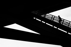 enter the spaceship (/ urban.fishing /) Tags: bridge urban abstract lines silhouette contrast dresden high graphic geometry stairway spaceship brücke papercut waldschlöschen humaningeometry