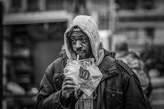 Elsewhere (justingreen19) Tags: nyc newyorkcity winter people urban ny newyork man logo mono manhattan homeless drinking streetphotography mcdonalds stare unionsquare deepthought newyorkpeople milesaway justingreen19