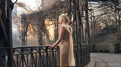 TITANIA Winter Scene (InByTheEye) Tags: park winter sunset sun sunlight cold gold centralpark branches central scars wounds pergola cocktaildress