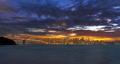 San Francisco Sunset (David Gn Photography) Tags: sanfrancisco california city travel sunset sky panorama usa tourism skyline clouds buildings lights evening twilight colorful cityscape treasureisland view skyscrapers unitedstates dusk postcard scenic bayarea northamerica northern westcoast metropolitan touristattraction oaklandbaybridge