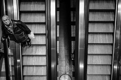 going down looking up (alexhaeusler) Tags: street people up station stairs blackwhite down