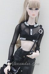Lilith in Moschino (Jonlexx) Tags: black beauty up fashion night toys high doll all bang cinematic moschino royalty lilith fahion integrity nuface