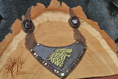 But Starks remain_5 (~Gilven~) Tags: winter brown man metal gold necklace beads wolf embroidery jewelry medieval armor bead stark beading gem chainmail garnet goldthread starks beadembroidery gameofthrones czechbeads foggyforest naturalleather jewelryfindingsbyannachernykh
