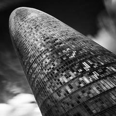 Torre Agbar (#3) (alxfink) Tags: barcelona blackandwhite bw building tower architecture canon eos blackwhite torreagbar blacksky