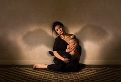 """Motherhood"" (shotlifestudio) Tags: light portrait woman baby selfportrait toronto art beautiful angel photoshop canon wings child photoshoot artistic young mother canadian maternity canon5d motherhood angelic youngmother advancedlighting creativeedit artisticedit girlportriat"