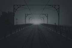 Lady In Fog (tryniDADA) Tags: bridge woman mist portugal monochrome fog outdoors cityscape outdoor explore porto minimalistic mistymorning 500px vsco patrykkuleta trynidada vscofilm