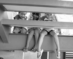 (Martyn61) Tags: travel boy blackandwhite bw playing girl monochrome kids stairs children thailand southeastasia hellokitty steps streetphotography social fujifilm chonburi x100t wavingsayinghello