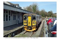 Liskeard. Railcar from Looe. 25.2.16 (Roger Joanes) Tags: greatbritain england railways liskeard