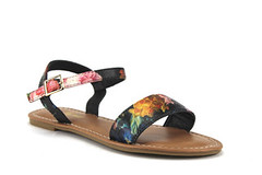 Iynx Ankle Strap Open Toe Black/Flower Sandals (jazame_shoes) Tags: ladies toe open sandals strap ankle blackflower iynx elm3