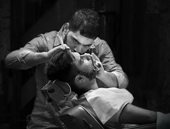 Just Relax Sir 2 (Carolbreeze99) Tags: street city people london relax blackwhite candid traditional barber shave lives intimate job razor closeshave matchpointwinner mpt502